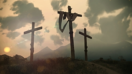 three crosses on hill