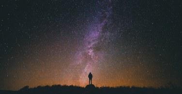 Man under night sky