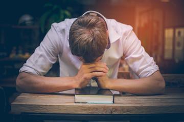 Man wrestles in prayer