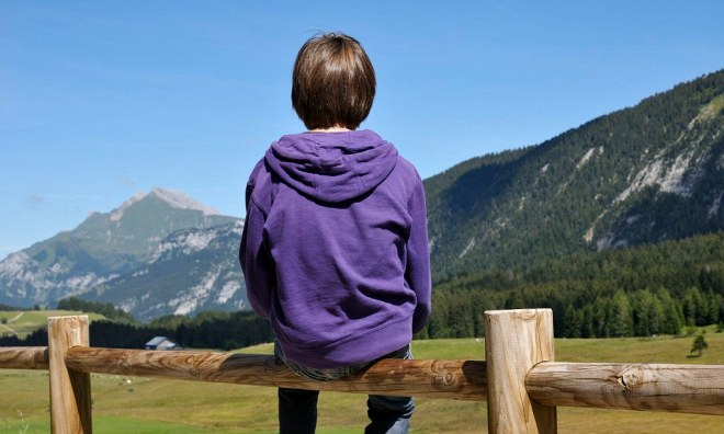 Back View of Boy Sitting on Wooden Fence, Glieres Plateau, Alps, France