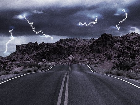 Storm on a road