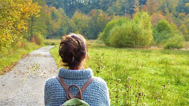 Quiet woman in nature