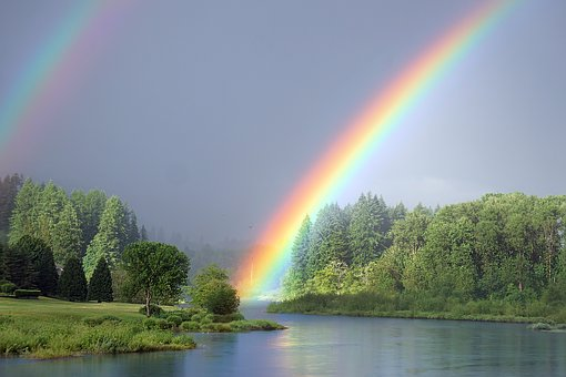 Rainbow on river