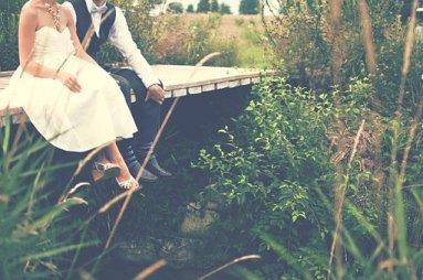 Bride groom on bridge