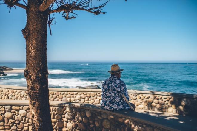 Sitting by ocean
