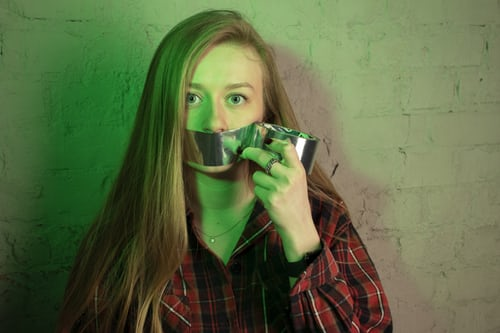 Duct tape on mouth