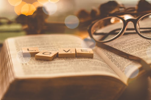 Love tiles on bible