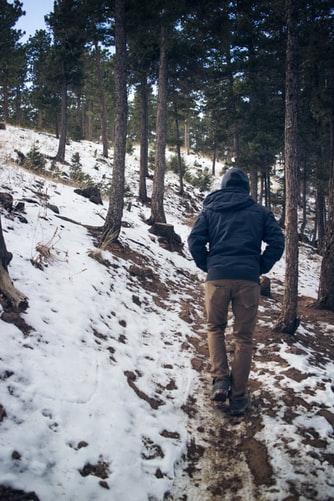 Walk on snowy path
