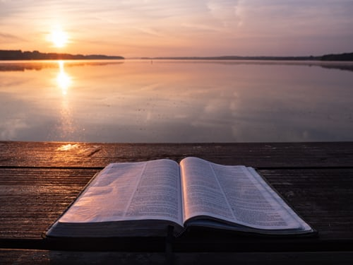 Bible by lake