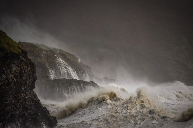 Sea waves at night
