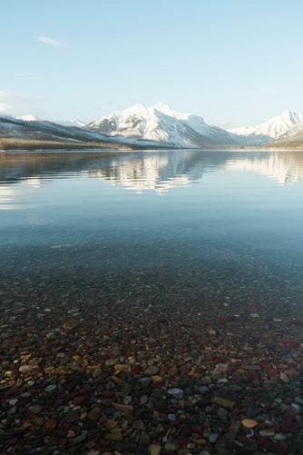 Clear lake near mountains